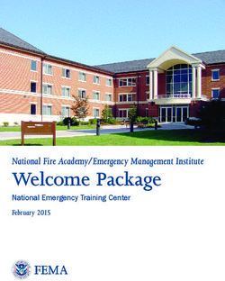 Welcome Package National Fire Academy/Emergency Management Institute
